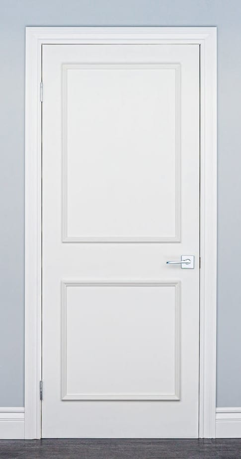 Update flat doors with budget friendly crown molding!